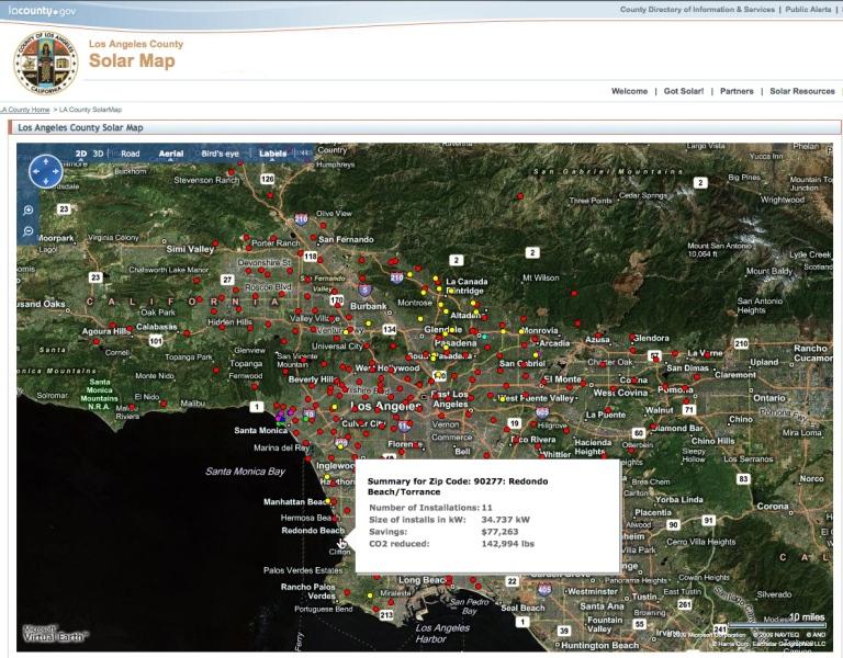 la county solar map