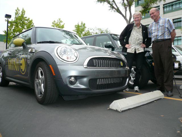 Paul Scott of Plug-In America and Wally Ripple of AC Propulsion w/new Mini E