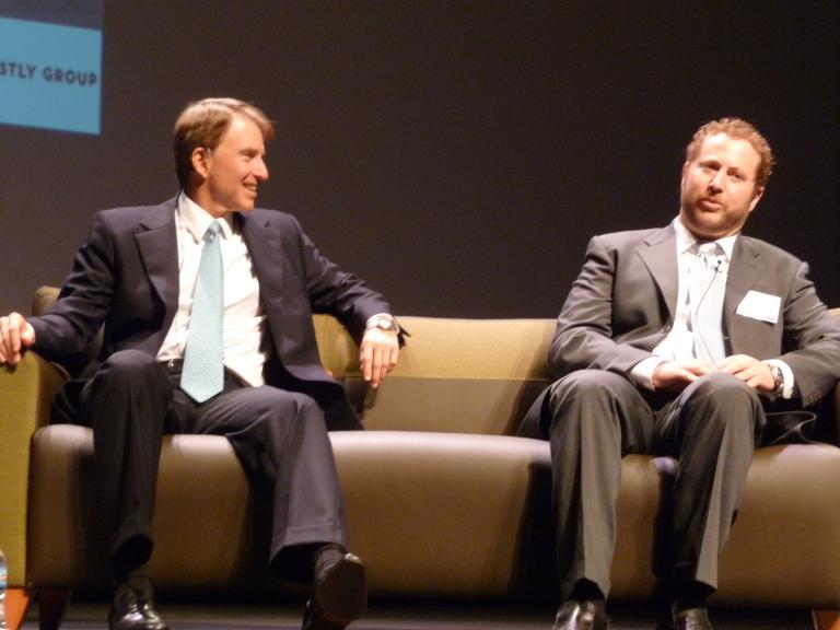 Steve Westly (left) with Jeremy Snyder, General Manager, Tesla Motors (c) 2009 Joe Galliani
