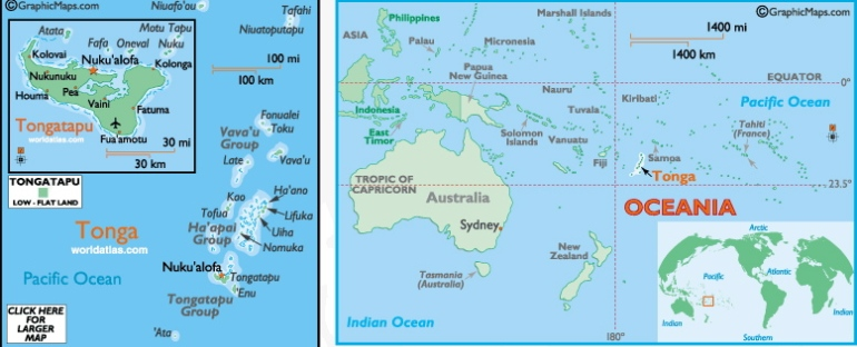 Tonga on the map